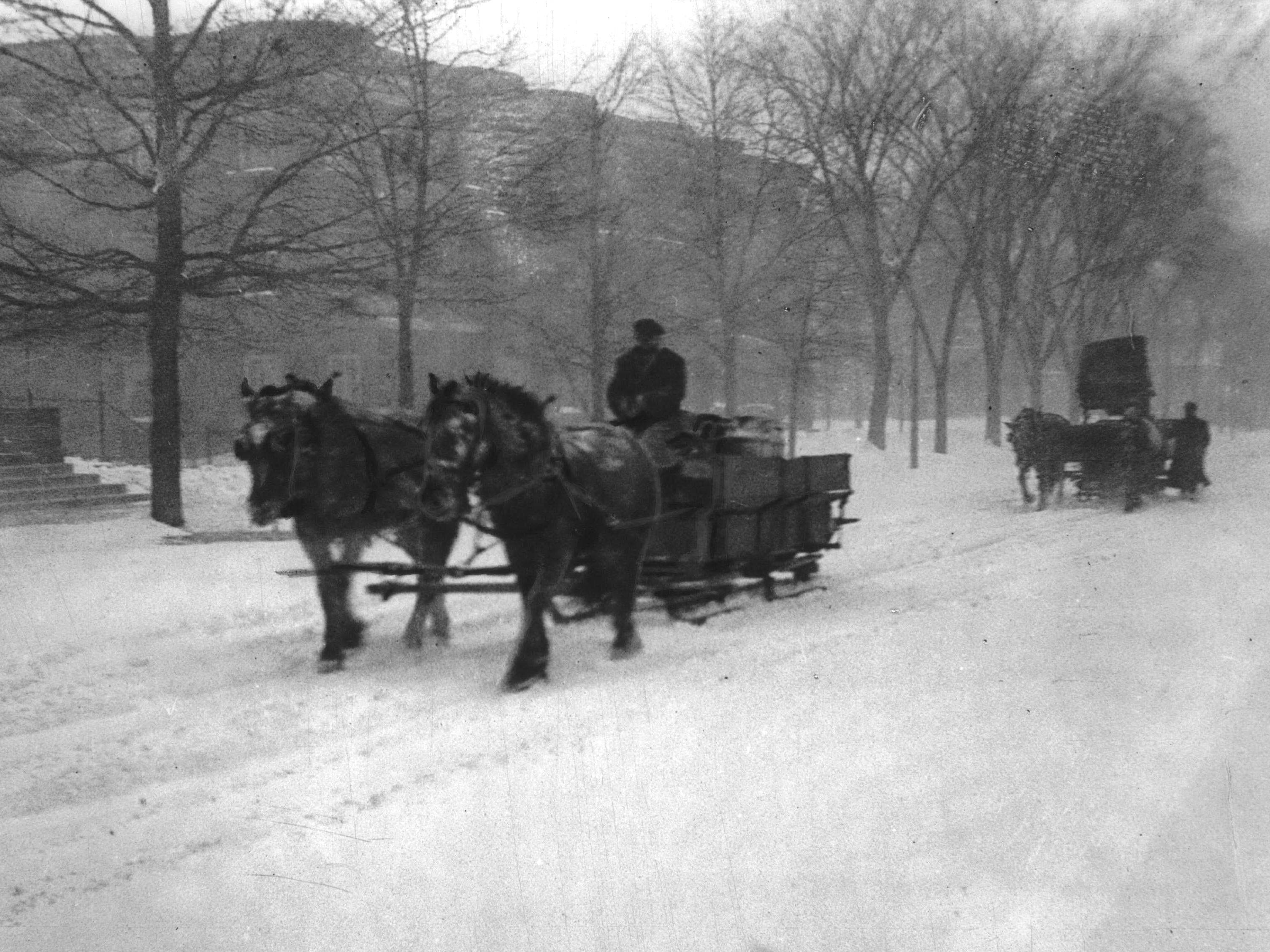 Milwaukee saw its then worst recorded snowstorm on Feb.  4-5, 1924 when 20.3 inches blanketed the city. Despite the weather, milk sleds from Waukesha delivered product to Gridley Dairy on 8th Street and Sycamore Street the day after the storm.