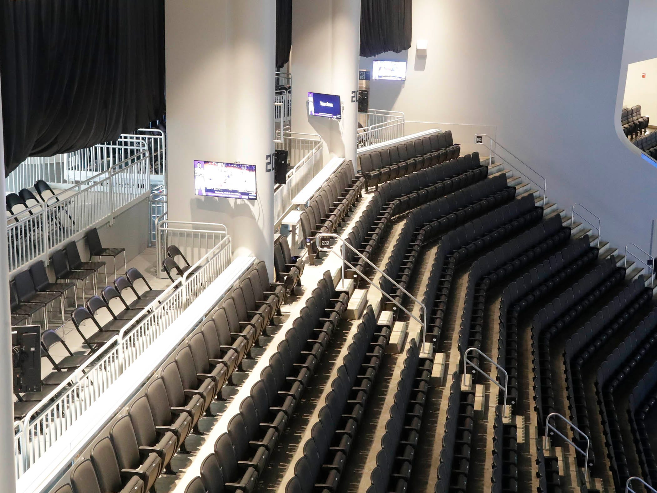 Extra media seating has been purchased for the NBA playoffs and to accommodate media needs during the Democratic National Convention.
