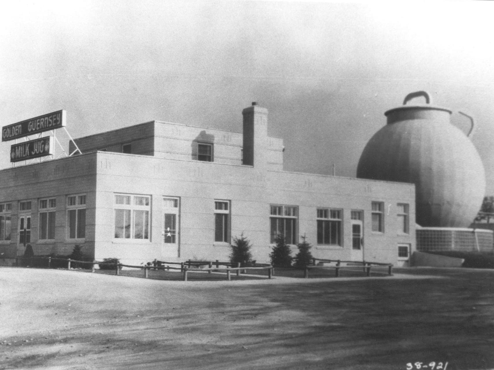 Circa 1945: The Golden Gurnsey Milk Jug on Blue Mound Road in Waukesha originally housed a restaurant and the large milk jug was an actual working barn. The building was open from the late 1930s to the early 1960s.