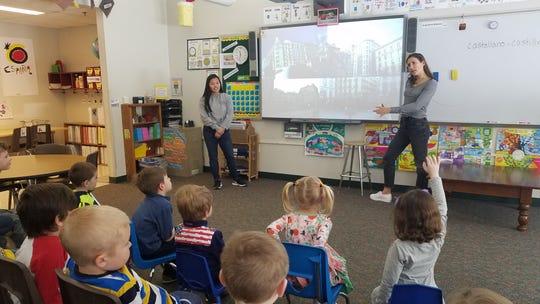 University Lake School Upper School Spanish students teach a Lower School Spanish class.