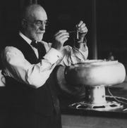 In 1890, a butterfat tester developed by UW-Madison professor Stephen Babcock gave farmers, creameries and cheesemakers a simple and fast way to determine the quality of milk. Babcock is shown with his electric  butterfat tester around 1926.