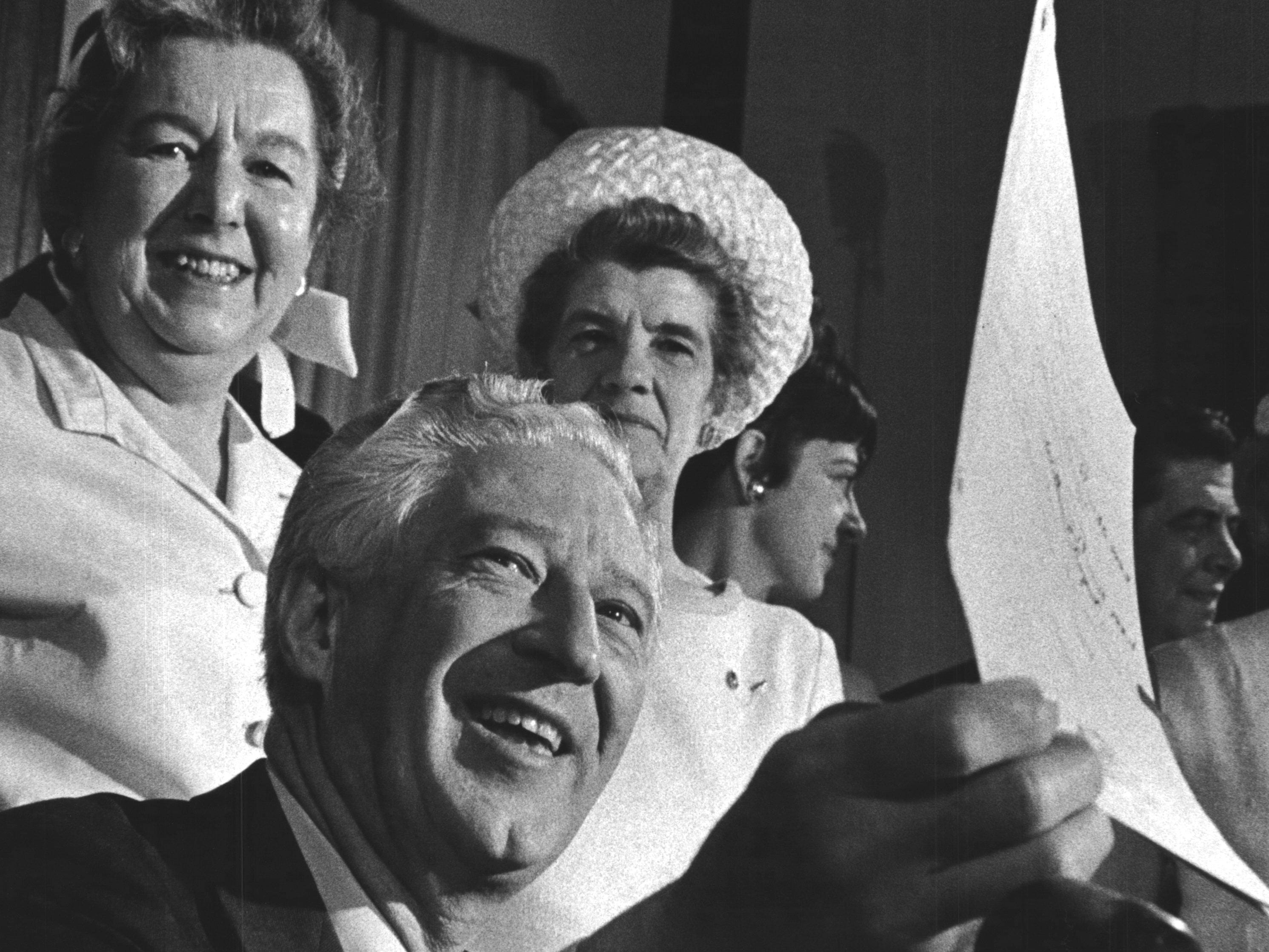 in 1967, a smiling Gov. Warren Knowles held up the signed bill repealing Wisconsin's 72-year-old ban on the sale of colored oleomargarine. Standing behind the governor during the ceremony in Madison were members of the Wisconsin Federation of Women's Clubs, which had long advocated the repeal of the oleo ban.