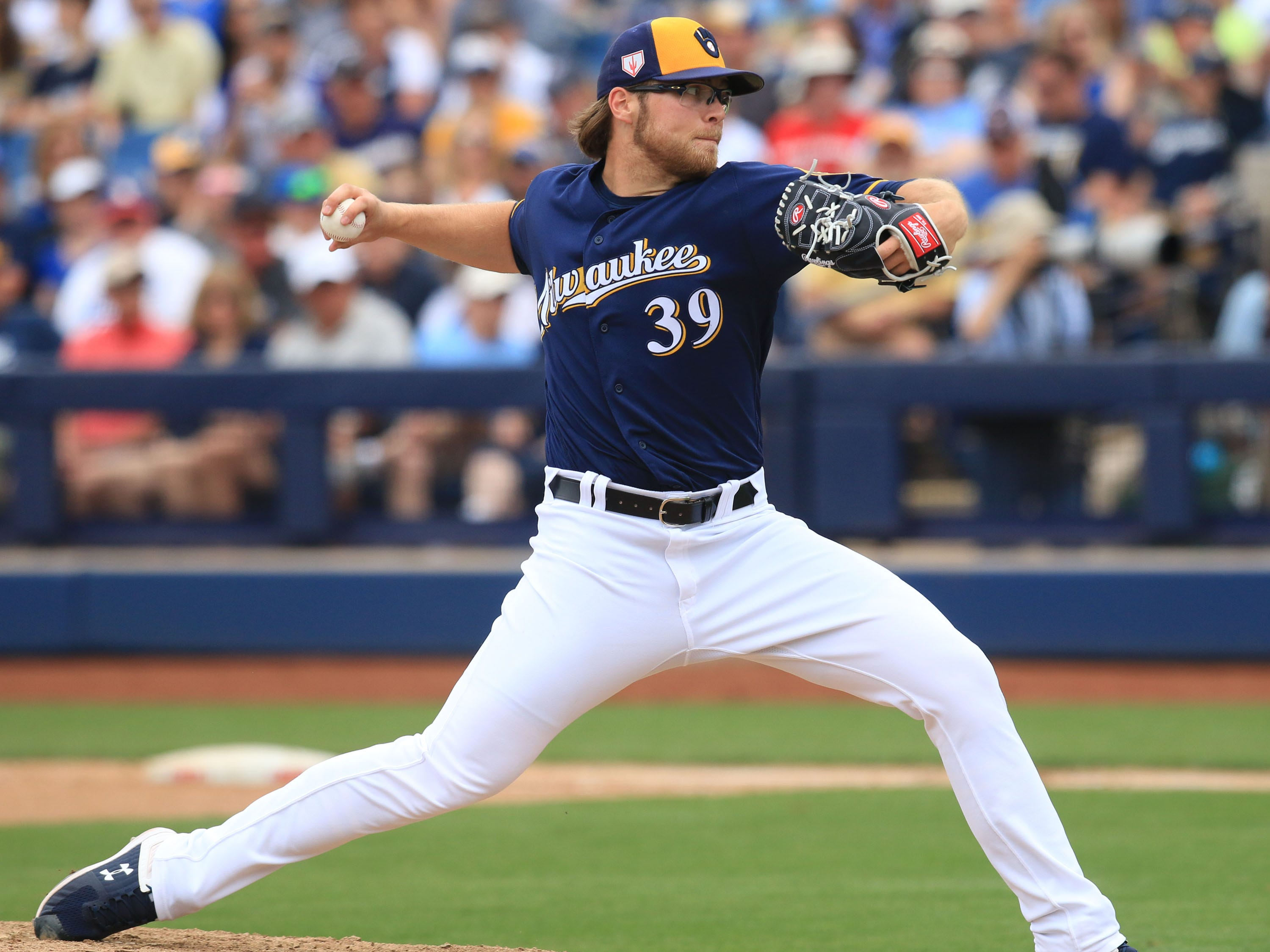 Brewers starting Corbin Burnes allowed three runs on five hits with a pair of walks and nine strikeouts in five innings against the Dodgers on Thursday.