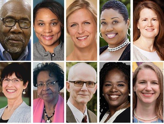 (Clockwise from upper left) Milwaukee School Board candidates Wendell Harris, Shyla Deacon, Stefanie Dugan, Catrina Crane, Kathryn Gabor, Megan O'Halloran, Sequanna Taylor, Bob Peterson, Marva Herndon and Erika Siemsen
