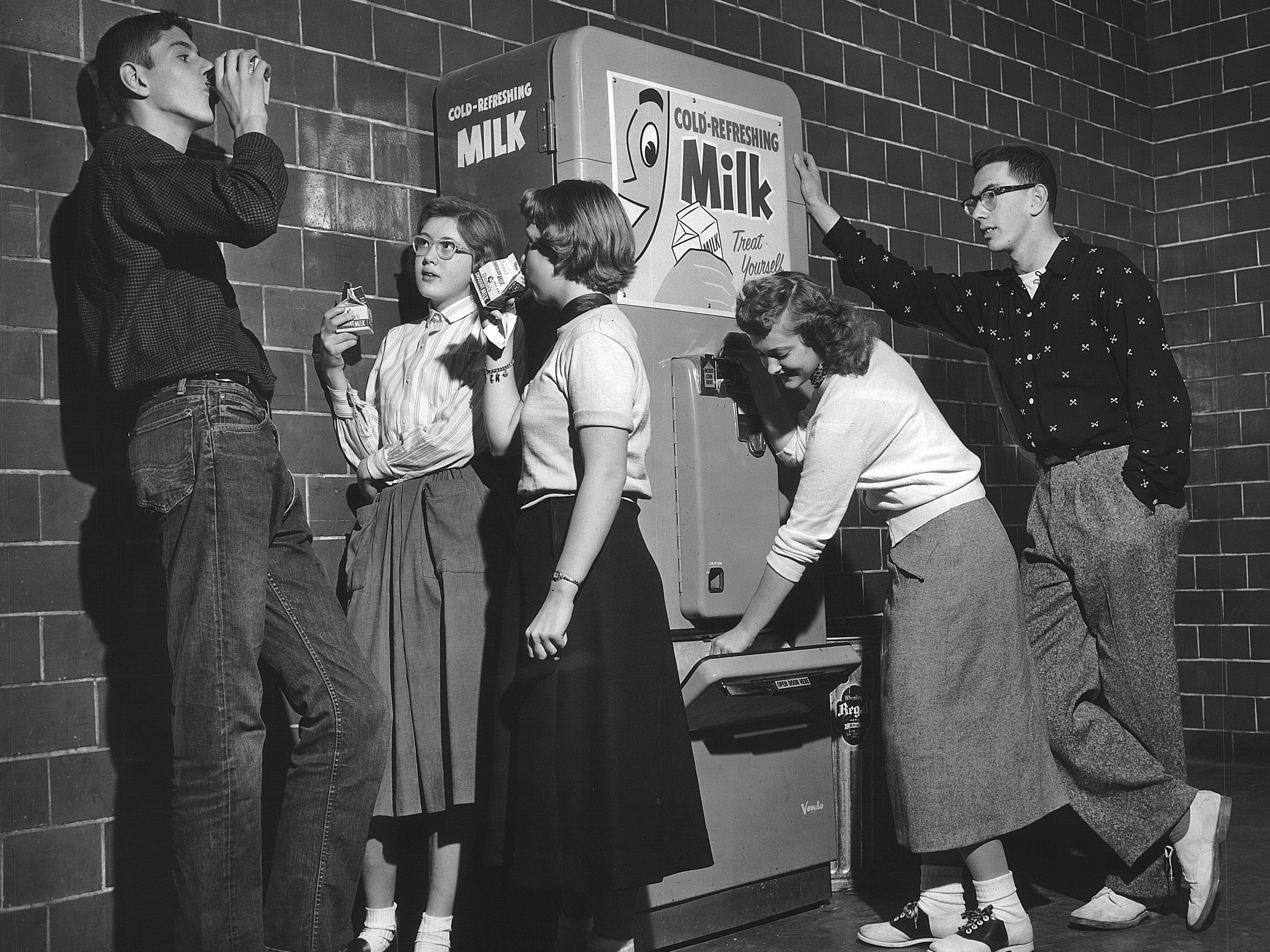 In the 1950s, milk gained in popularity when cartons began to replace glass bottles making it possible to use vending machines for milk.