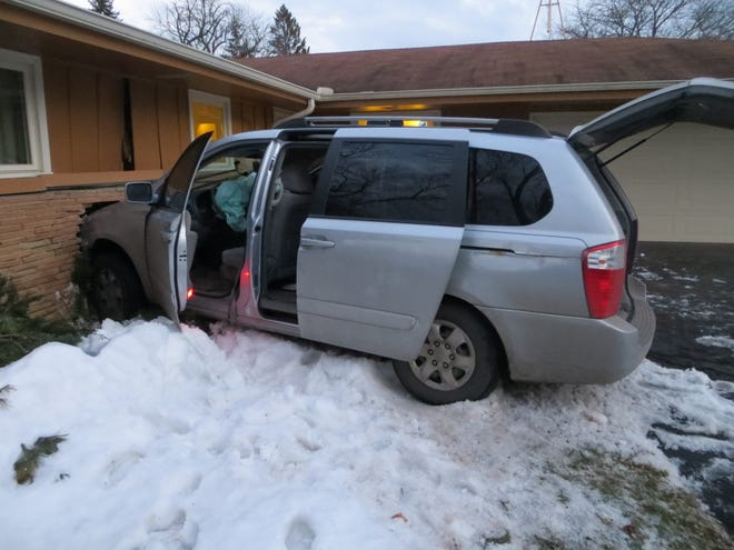 A 19-year-old Milwaukee woman drove this van into a Fox Point house after fleeing a River Hills police squad at about 6:40 p.m. Friday, March 15.