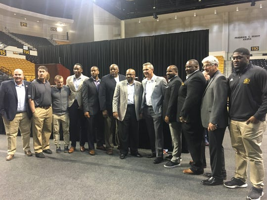 Grambling State football coaching staff with former Ohio State head coach Urban Meyer.