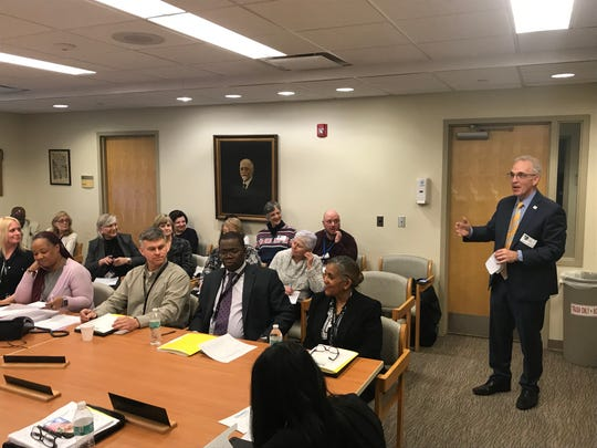 Robert Davison, CEO of the Mental Health association of Essex and Morris, speaks during the public portion of the Greystone Park Psychiatric Hospital Board of Trustees meeting in Parsippany. March 21, 2019.