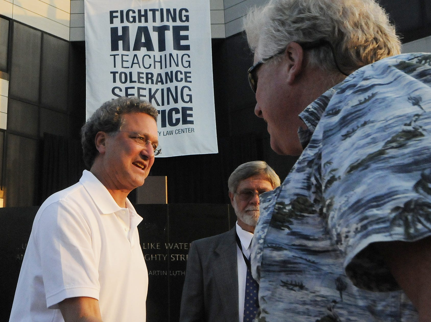 Southern Poverty Law Center president Richard Cohen, left, greets supporters at the SPLC's 40th Anniversary Celebration on Saturday April 30, 2011 at the Civil Rights Memorial Center in Montgomery, Ala.(Montgomery Advertiser, Mickey Welsh)