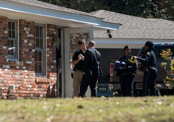 Police investigate a shooting at a home on Fieldcrest Drive in Montgomery, Ala., on Friday, March 22, 2019. One person was sent to the hospital with what appeared to be non-life threatening injuries.