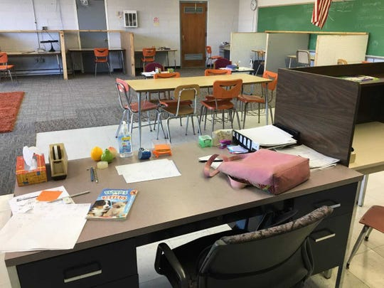 The view of the Delaware Christian Academy's classroom from the academic coach's desk.