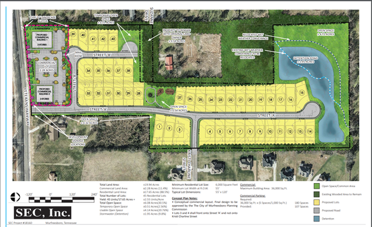 This rendering shows a 45-home development plan for The Cottages of Snell Cove off Veterans Parkway near Barfield Road.