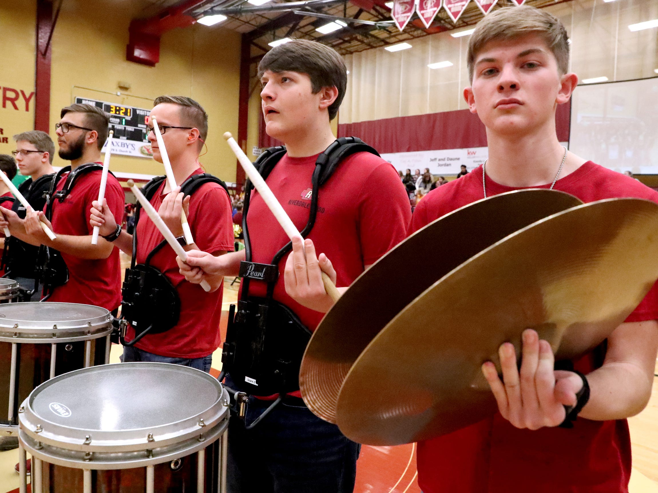 Riverdale High School drum line played at the sixth annual Brave the Shave fundraiser to benefit St. Baldrick's Foundation on Thursday, March 21, 2019. The organization raises funds and awareness for childhood cancer.