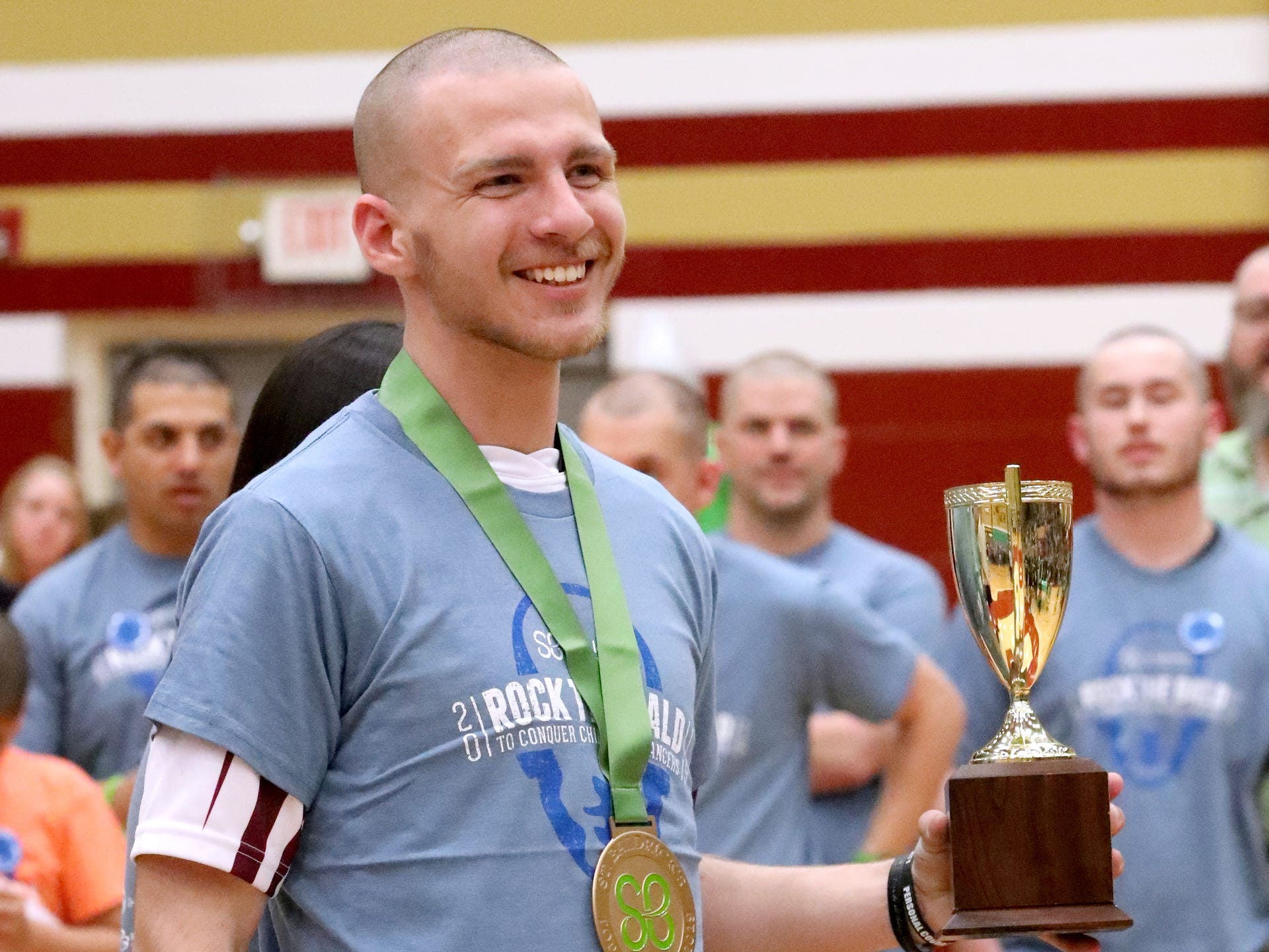 Caleb Shew raised the most money during the Riverdale High School's sixth annual Brave the Shave fundraiser to benefit St. Baldrick's Foundation on Thursday, March 21, 2019. The organization raises funds and awareness for childhood cancer.