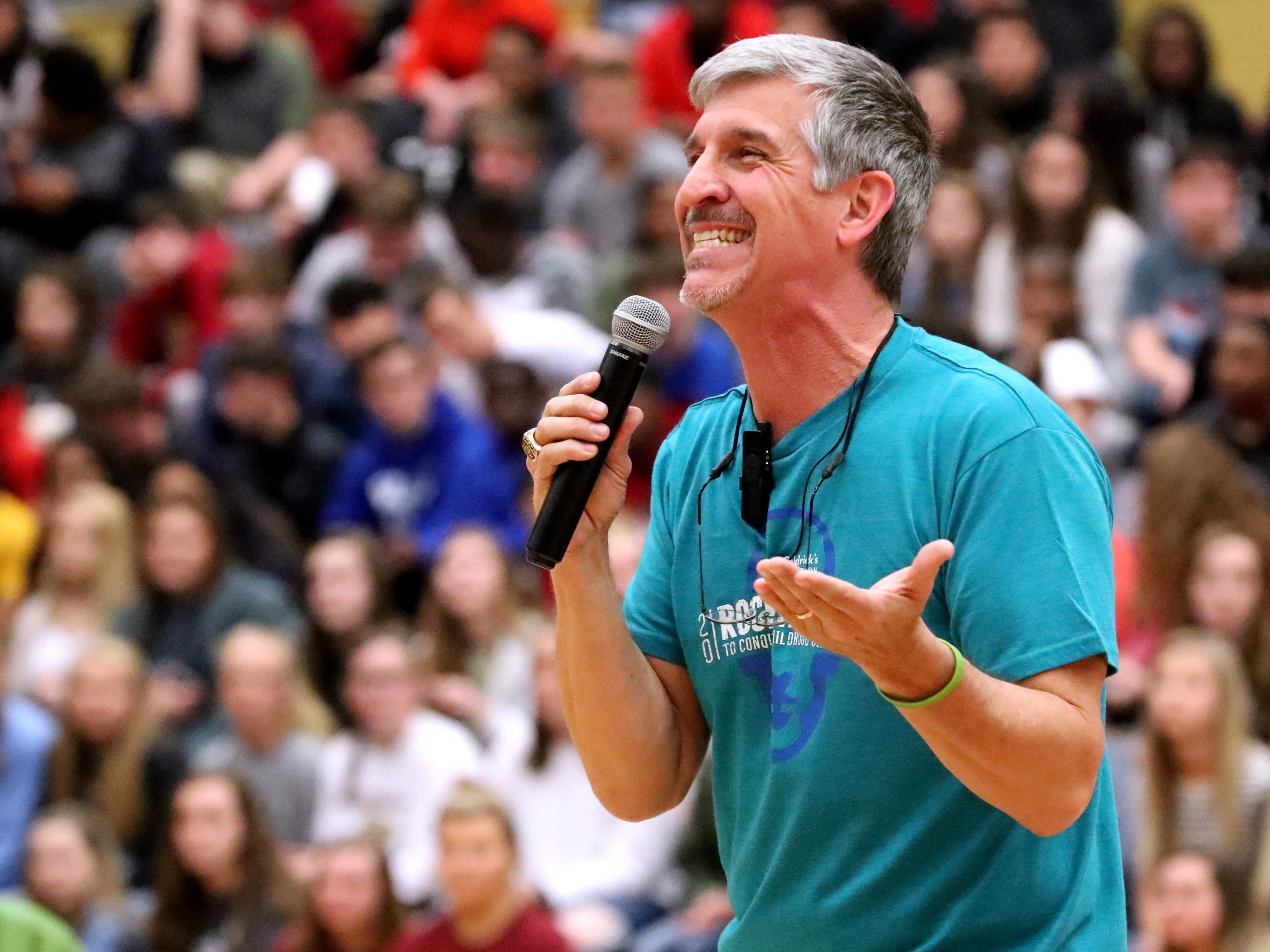 Lamar Davis narrates the sixth annual Brave the Shave fundraiser to benefit St. Baldrick's Foundation at Riverdale, on Thursday, March 21, 2019. The organization raises funds and awareness for childhood cancer.