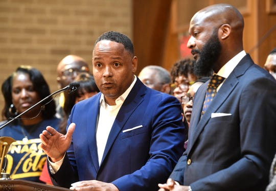 Pastor Keith Caldwell and Pastor James Turner II  answer reporters questions at a press conference before the IMF and NAACP held a rally in support of Shawn Joseph at New Hope Baptist Church Thursday, March 21, 2019, in Nashville, Tenn.