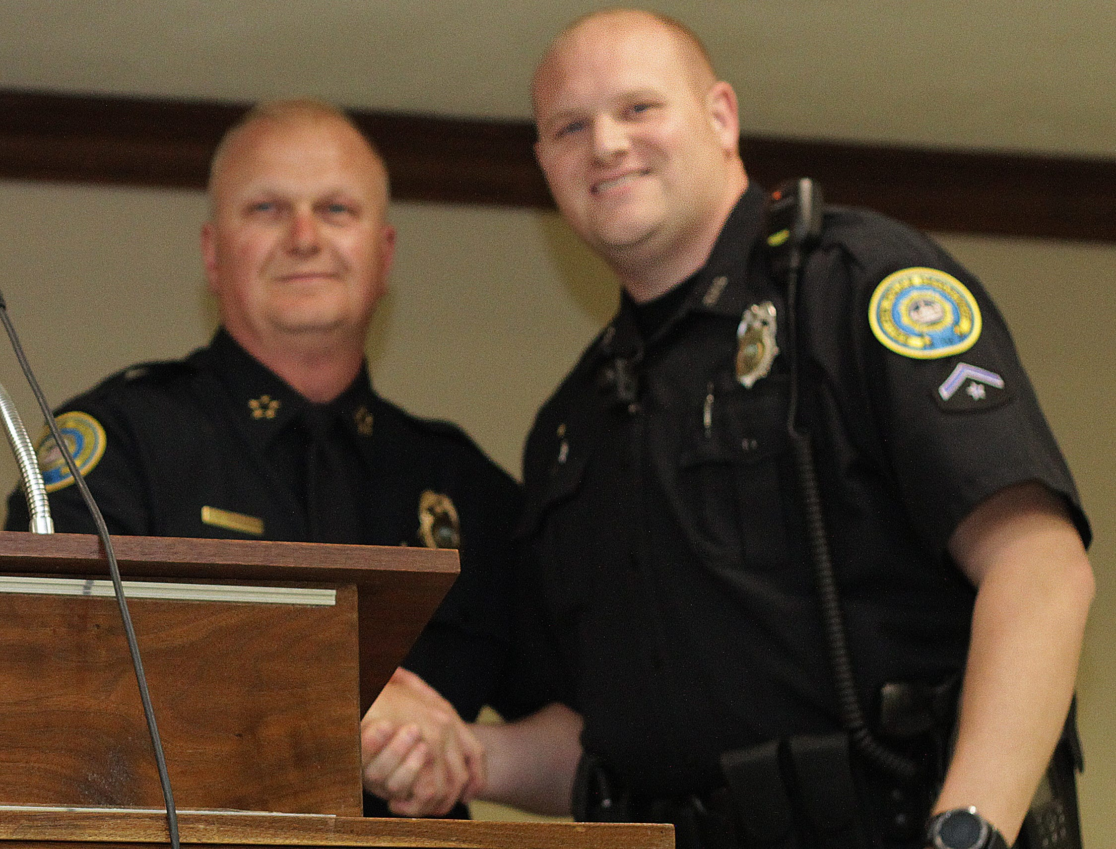 Police Chief Donald Bandy presents a Meritorious Service Award to Officer Kevin Jackson at the Gallatin Police Dept. Awards Ceremony for 2018 Achievements on Thursday, March 21, 2019.