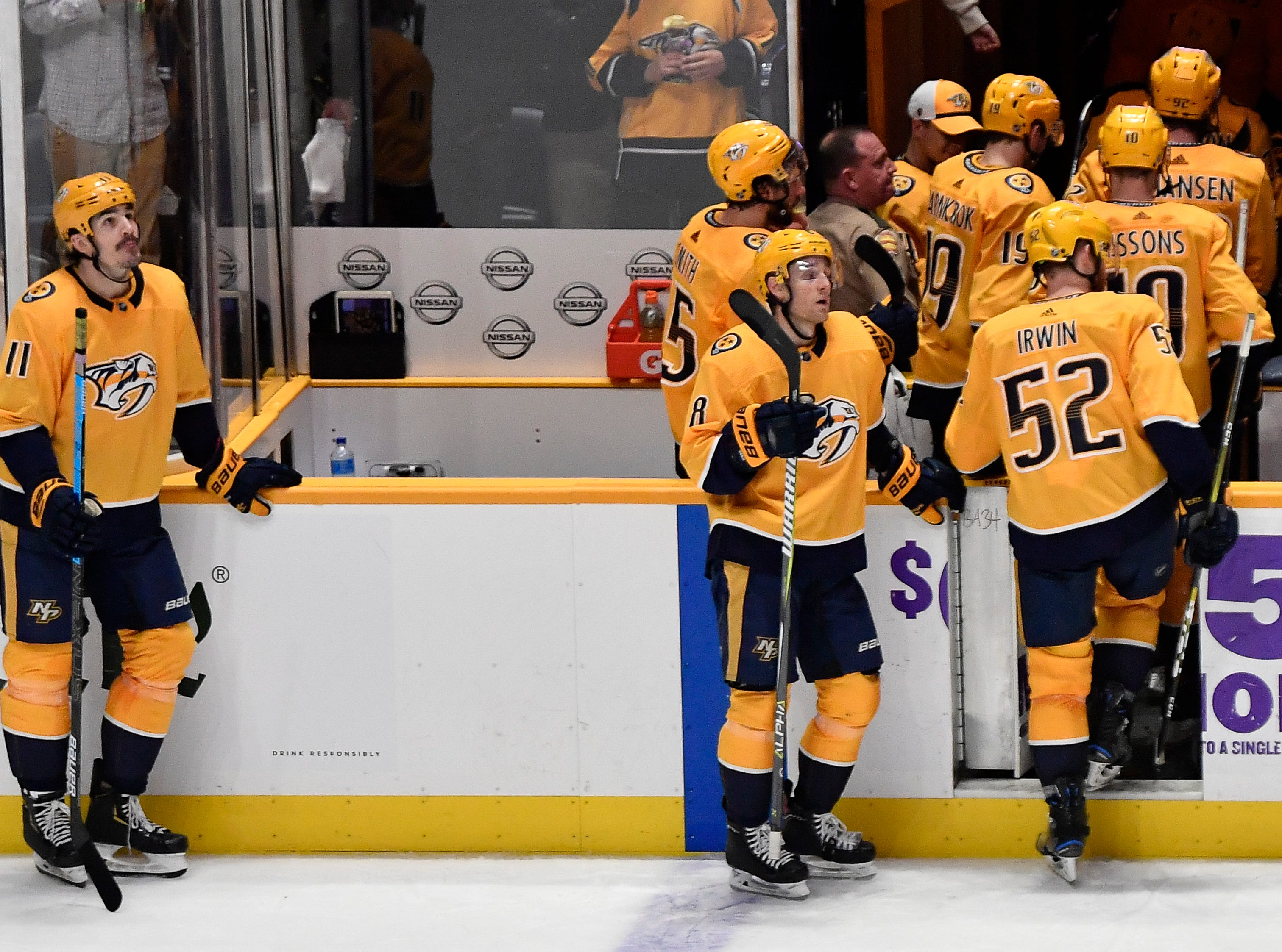 Predators leave the ice after losing to the Penguins in a shootout at Bridgestone Arena Thursday, March 21, 2019 in Nashville, Tenn.