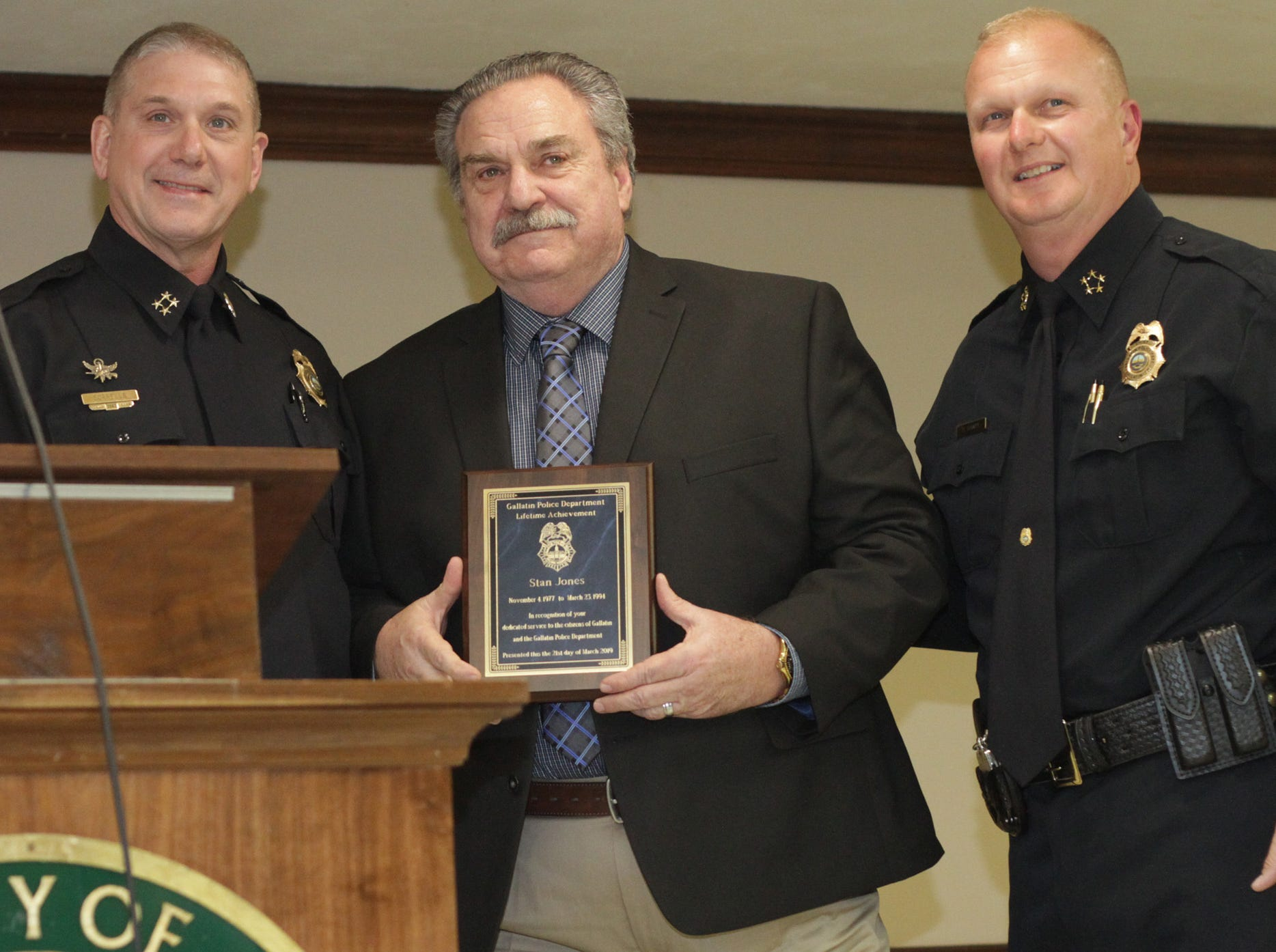 Assistant Chief William Sorrells presents a Lifetime Achievement award to Stan Jones along with Chief Donald Bandy at the Gallatin Police Dept. Awards Ceremony foe 2018 Achievements on Thursday, March 21, 2019.