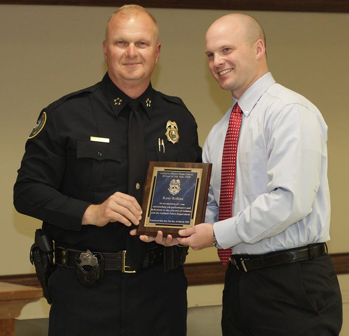Police Chief Donald Bandy presents the 2018 Officer of the Year award to Officer Ross Hollins at the Gallatin Police Dept. Awards Ceremony for 2018 Achievements on Thursday, March 21, 2019.