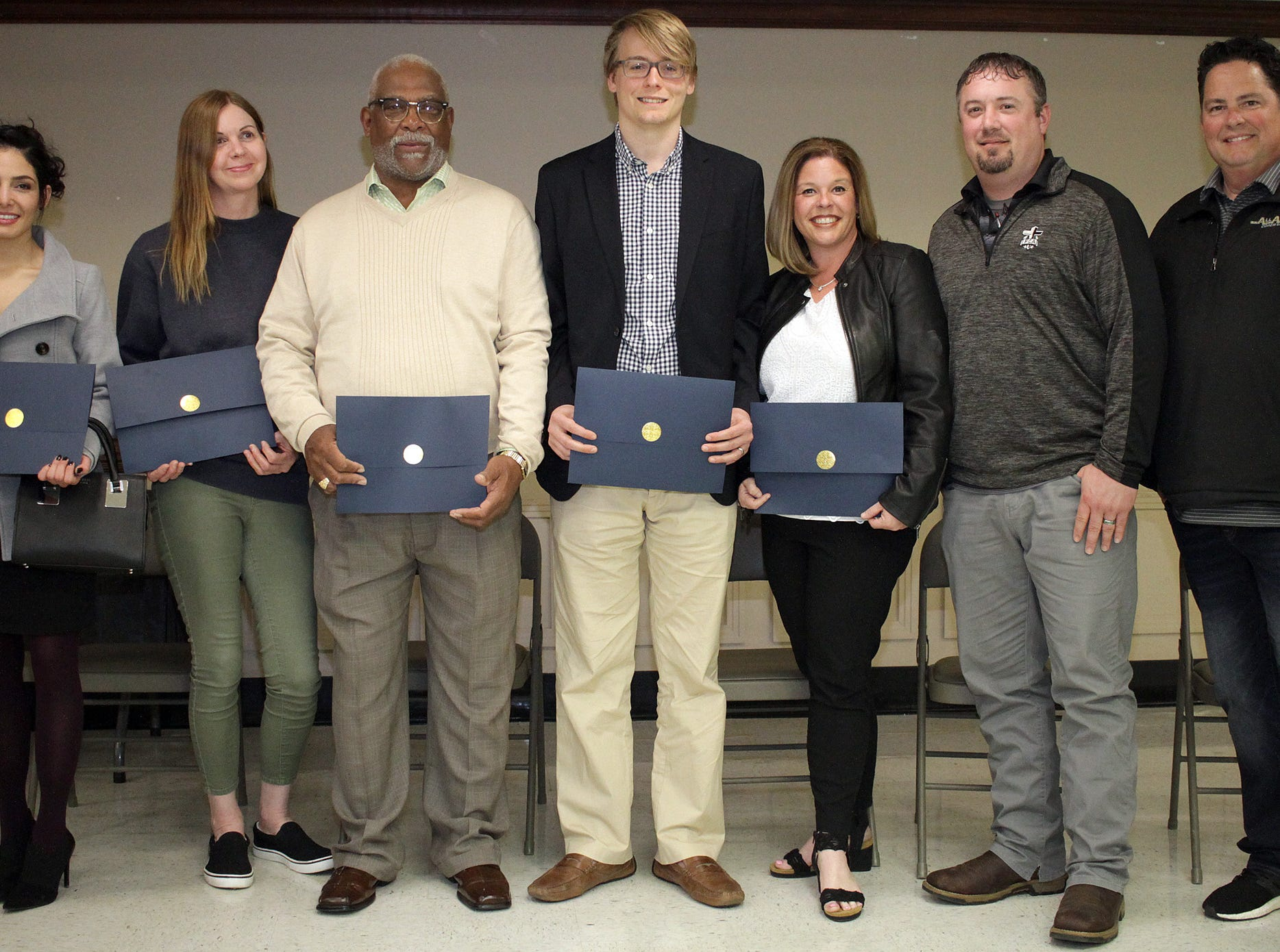 Receiving Citizen Commendations at the Gallatin Police Dept. Awards Ceremony for 2018 Achievements are:  L-R Lisa Abdulameer, Debra Alvarado, John Flippon Jr., Travis Hoover, Katie Smith, Brian Hudson and Eric Blankenship on Thursday, March 21. 2019.