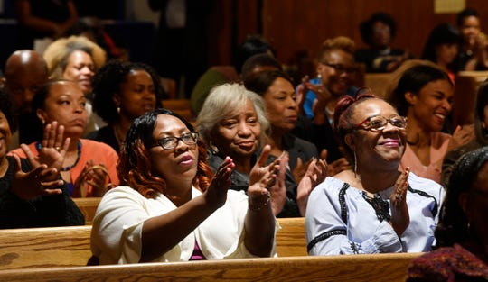 The crowd claps during a rally in support of Shawn Joseph at New Hope Baptist Church Thursday, March 21, 2019, in Nashville, Tenn.