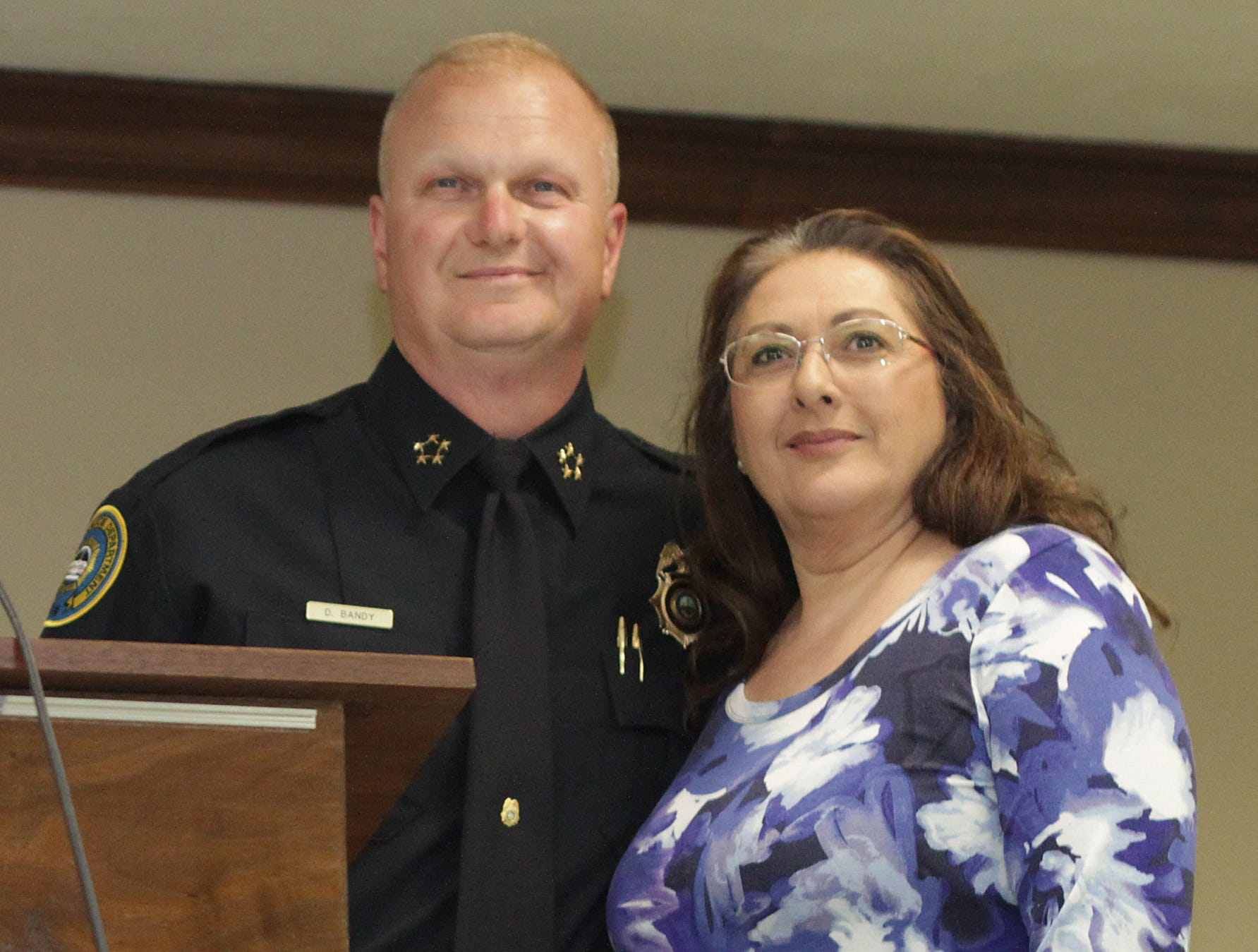 Chief Donald Bandy presents a Meritorious Service Award to Jamie Sullivan at the Gallatin Police Dept. Awards Ceremony for 2018 Achievements on Thursday, March 21, 2019.