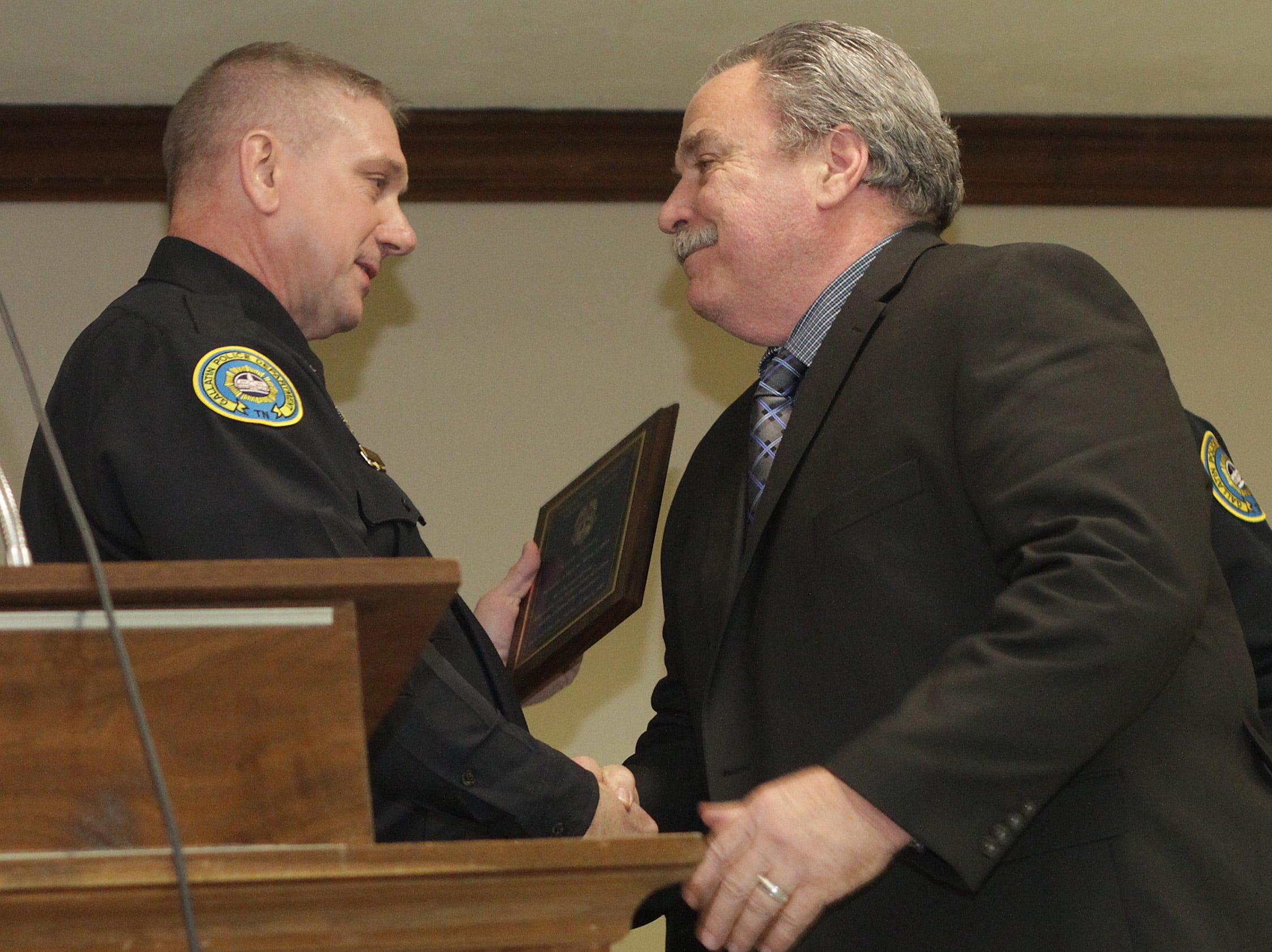 Assistant Chief William Sorrells presents a Lifetime Achievement award to Stan Jones at the Gallatin Police Dept. Awards Ceremony for 2018 Achievements on Thursday, March 21, 2019.