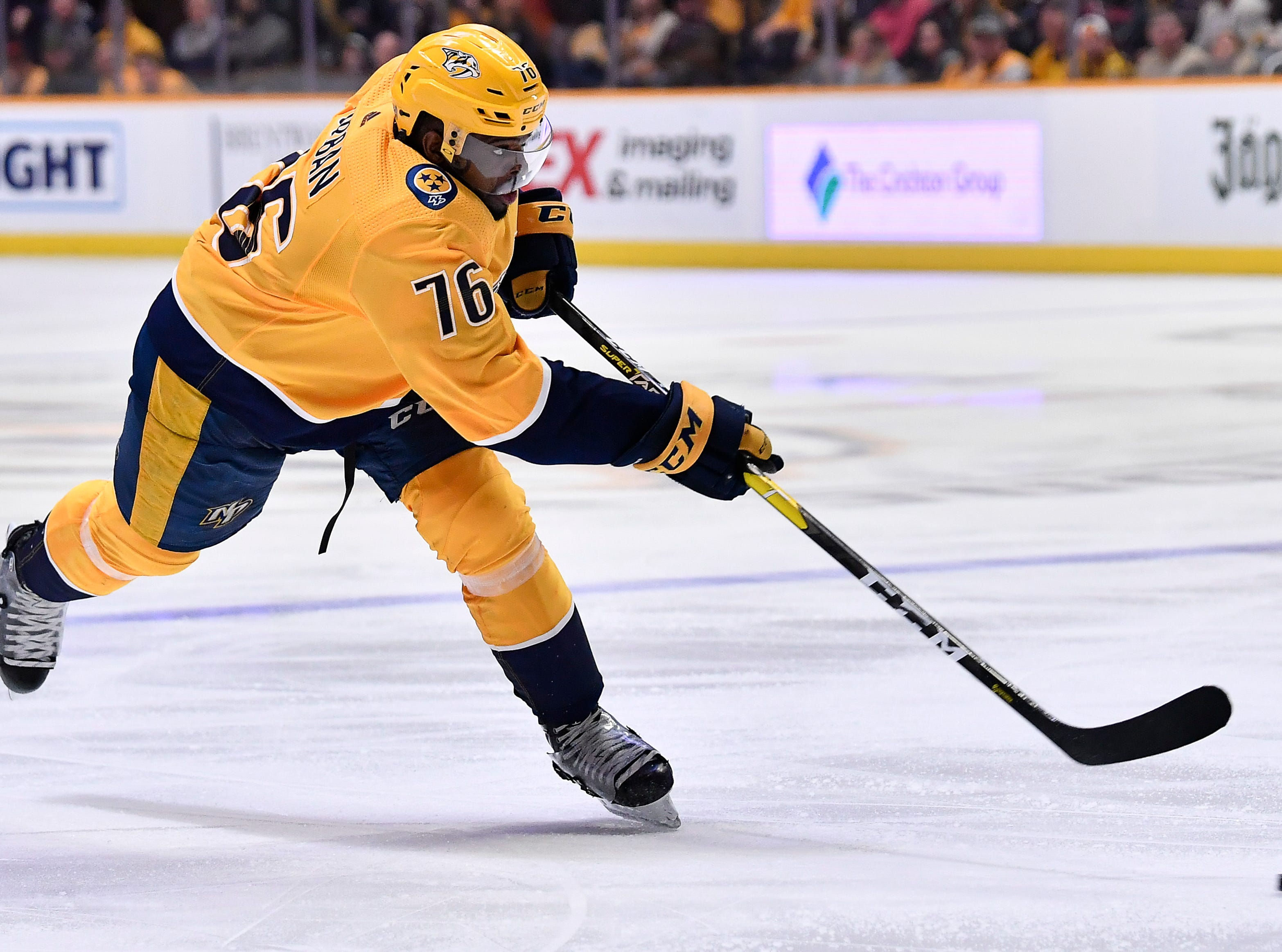 Predators defenseman P.K. Subban (76) shoots the puck during the third period against the Penguins at Bridgestone Arena Thursday, March 21, 2019 in Nashville, Tenn.