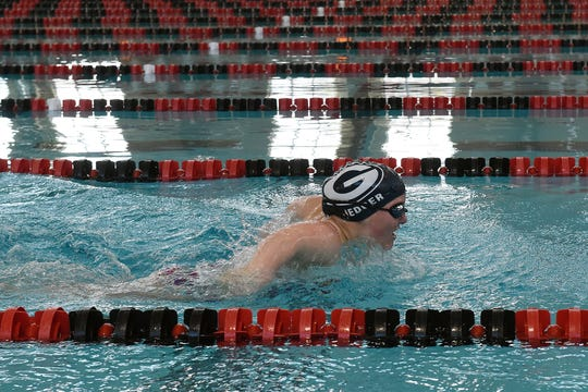 Granville freshman Elizabeth Hedger practices with the Pau Hana Swim Team on Monday, March 18, 2019 at Denison University's Trumbull Aquatic Center. Hedger will be competing in April in Indianapolis as a part of the World Para SwimmingÕs 2019 World Series.
