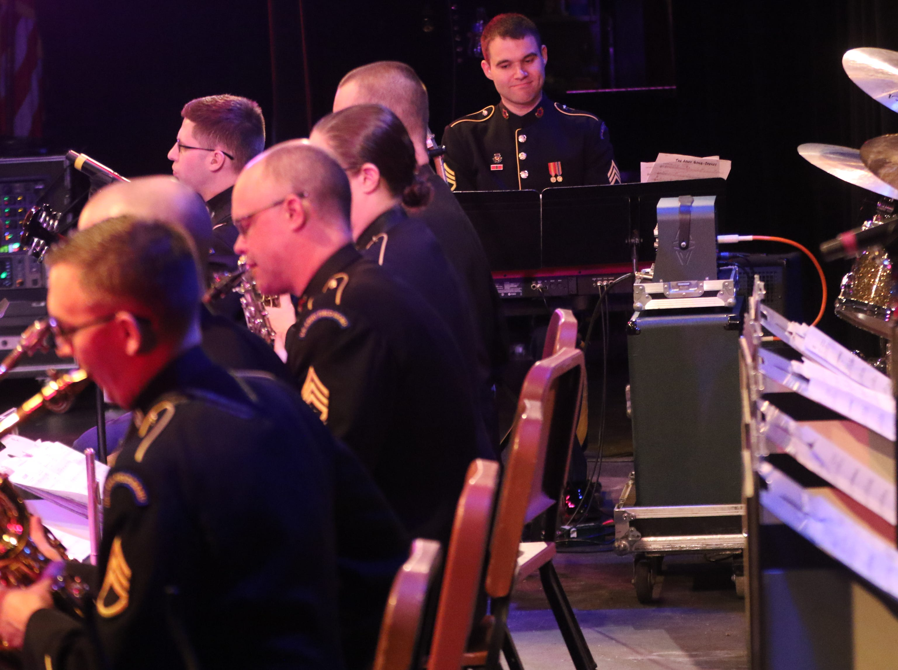 Staff Sgt. Anthony Pocetti, of Hamilton, NJ, plays the piano, in Wayne.  The United States Army Jazz Ambassadors Field Band performed at Wayne Hills High School, Thursday, March 21, 2019.  This was the eleventh day of their tour, which lasts more than a month.