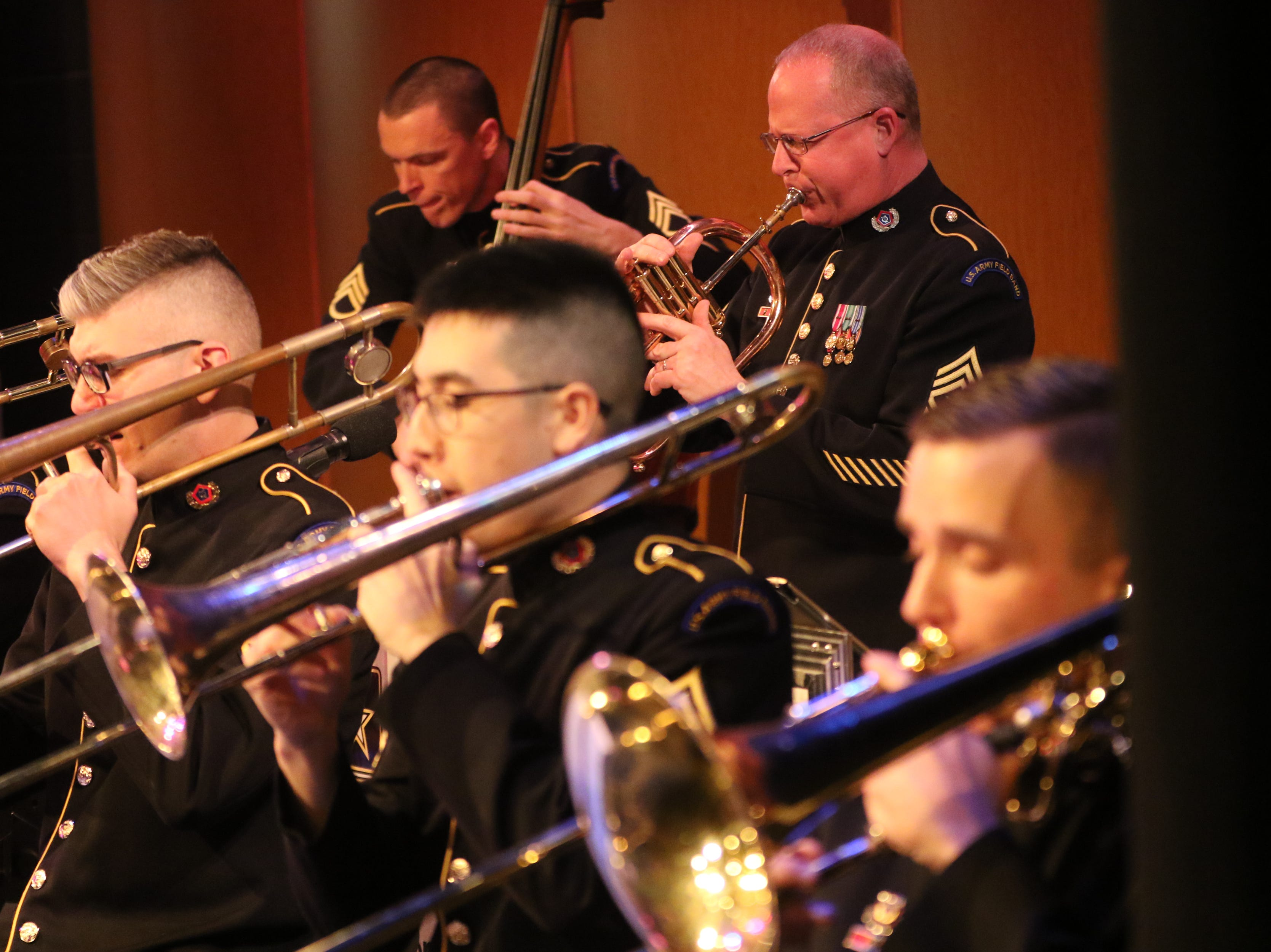 The United States Army Jazz Ambassadors Field Band performed at Wayne Hills High School, Thursday, March 21, 2019.  This was the eleventh day of their tour, which lasts more than a month.