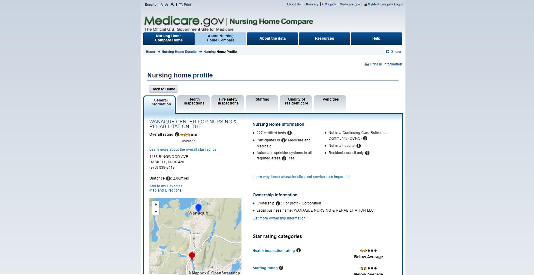 Medicare's Nursing Home Compare screenshot.  The Wanaque Center for Nursing and Rehabilitation has a 3-star rating on Medicare's Nursing Home Compare web site, March 22, 2019.