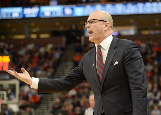 Mar 21, 2019; Salt Lake City, UT, USA; Fairleigh Dickinson Knights head coach Greg Herenda reacts against the Gonzaga Bulldogs in the second half in the first round of the 2019 NCAA Tournament at Vivint Smart Home Arena.