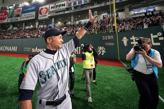 Mar 21, 2019; Tokyo,JPN; Seattle Mariners right fielder Ichiro Suzuki (51) waves to fans after the game against the Oakland Athletics at Tokyo Dome.