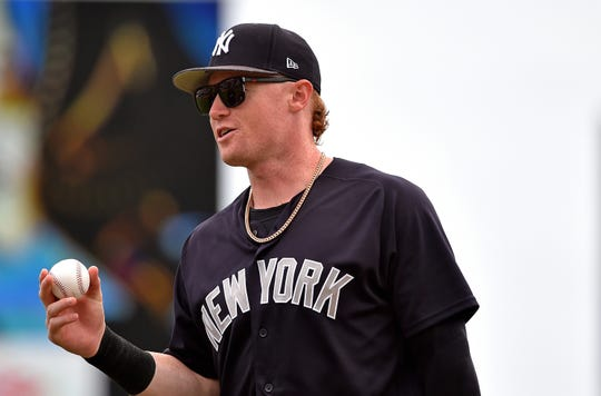 Mar 21, 2019; Jupiter, FL, USA; New York Yankees left fielder Clint Frazier (77) prior to a game aSt. Louis Cardinals during a spring training game at Roger Dean Chevrolet Stadium.