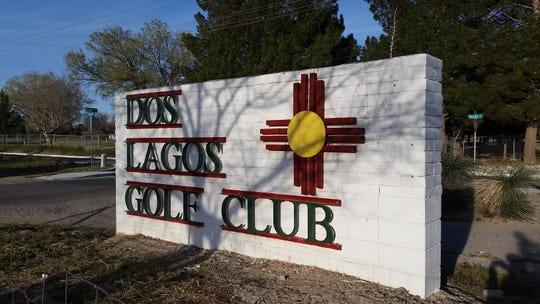 A sign marks the entrance to a golf course in Anthony, New Mexico that the city government has voted to try to seize through eminent domain. City officials say the closed golf course is prime acreage for a recreational complex.