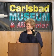 Rita London, retired principal from Carlsbad's Eddy Elementary School, shares stories about Lynne Pitcaithley the newest inductee of the Carlsbad Hall of Fame on March 23.