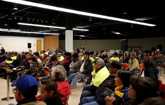 The public seating area was full during the special meeting for the Naa'bik'íyáti' Committee on Thursday in Window Rock, Ariz.