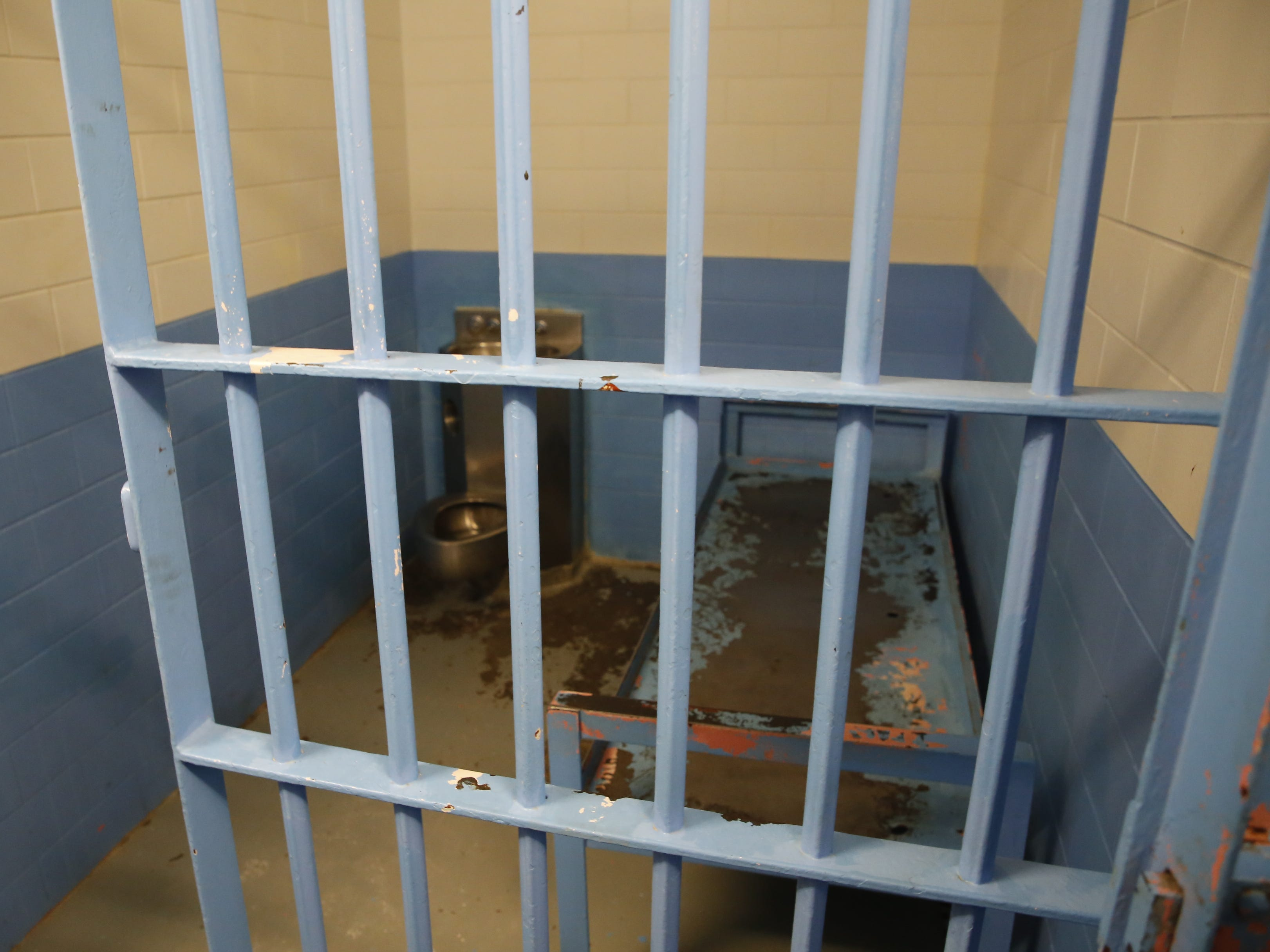 A jail cell was shown to U.S. Rep. Ben Ray Luján, D-N.M., during a tour of the Shiprock Police Department on Friday.