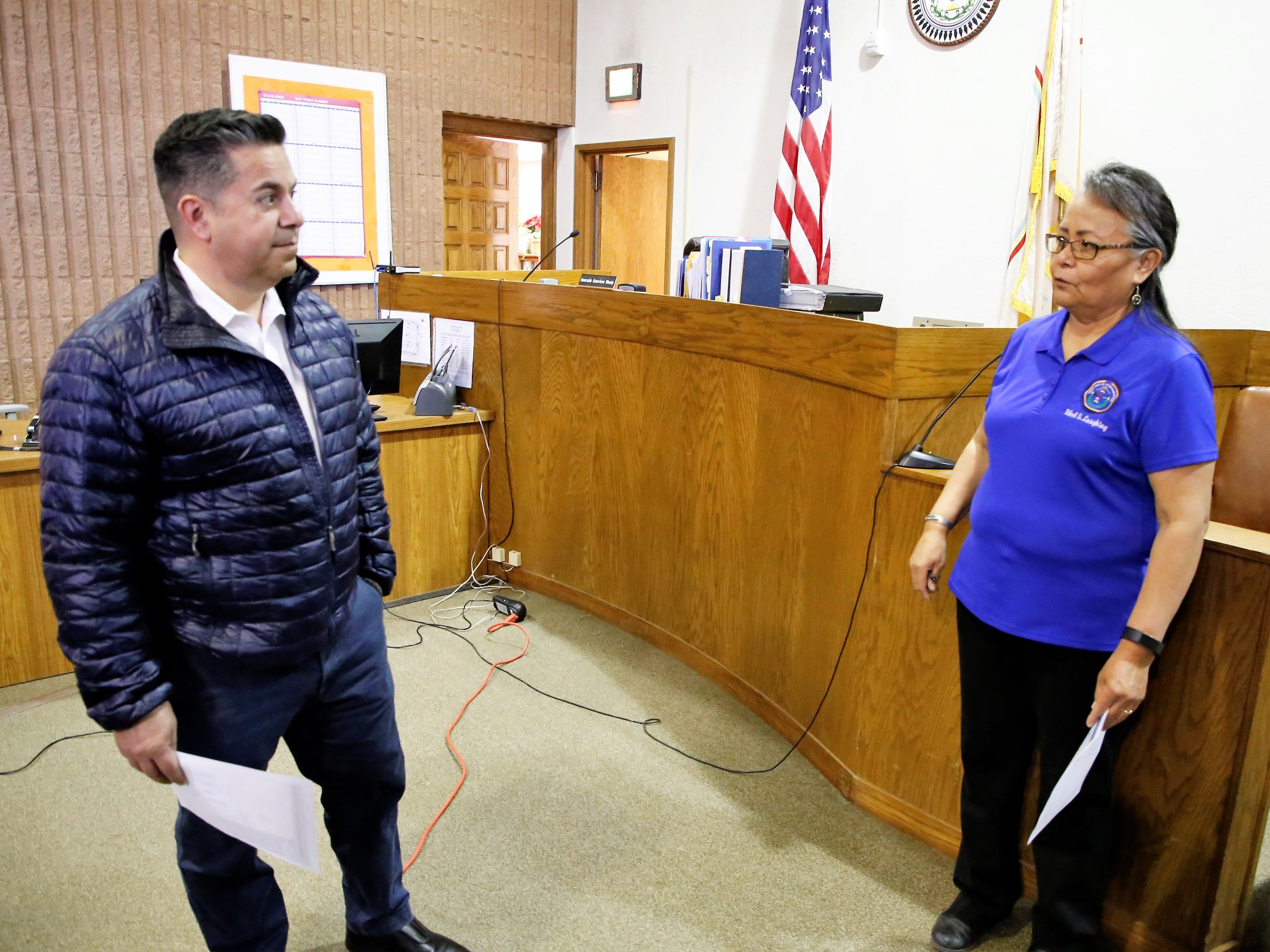 U.S. Rep. Ben Ray Luján, D-N.M., left, speaks to Shiprock Judicial District Court Administer Ethel Laughing, right, about the condition of the courthouse building during a tour Friday.