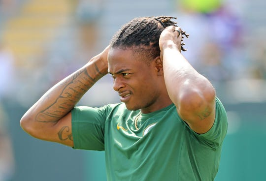 Packers receiver Davante Adams is working out at home and enjoying his parenting time.