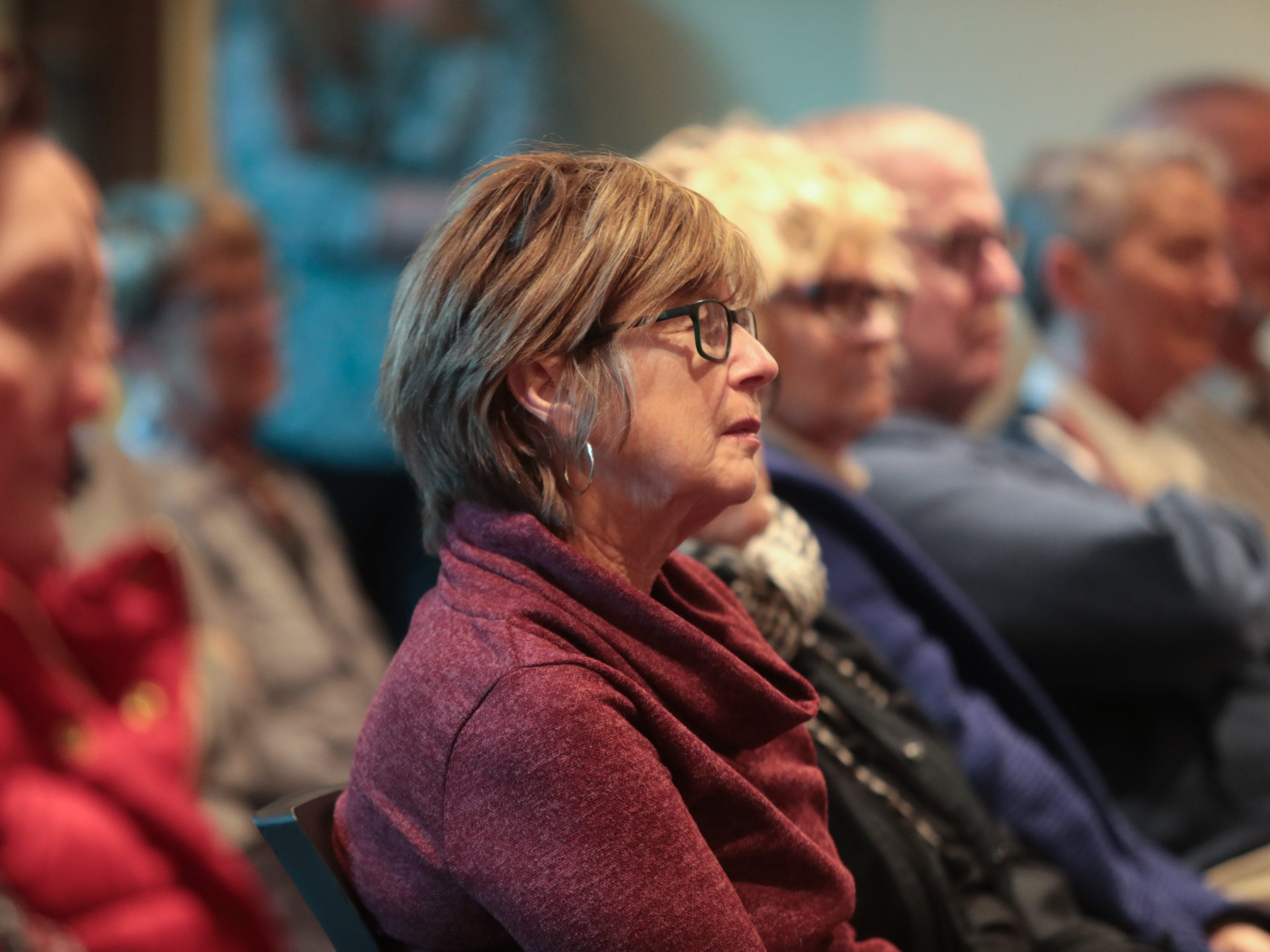 """Community members listen to stories about """"searching"""" at the Coachella Valley Storytellers Project, La Quinta, Calif., March 21, 2019."""