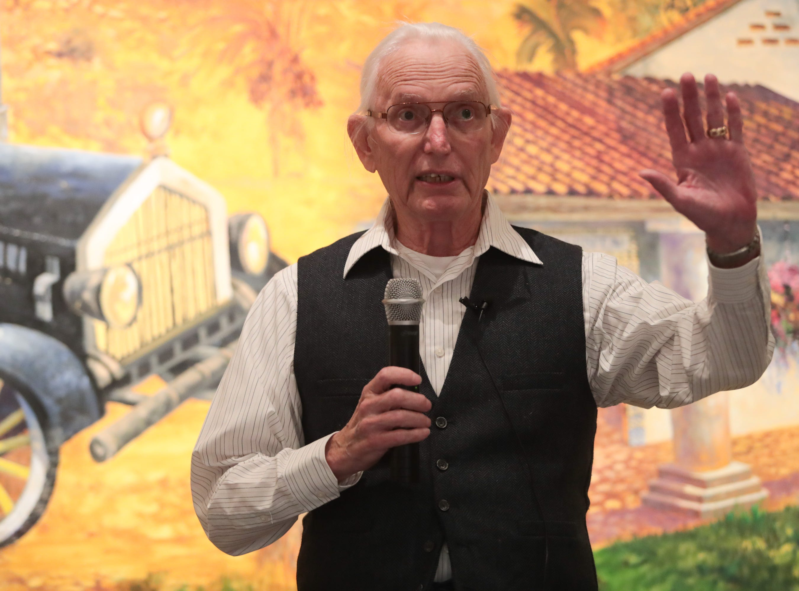 """Tom Switzer tells a story about """"searching"""" at the Coachella Valley Storytellers Project, La Quinta, Calif., March 21, 2019."""