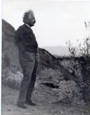 """Albert Einstein above The Willows, """"in the desert at Palm Springs."""""""