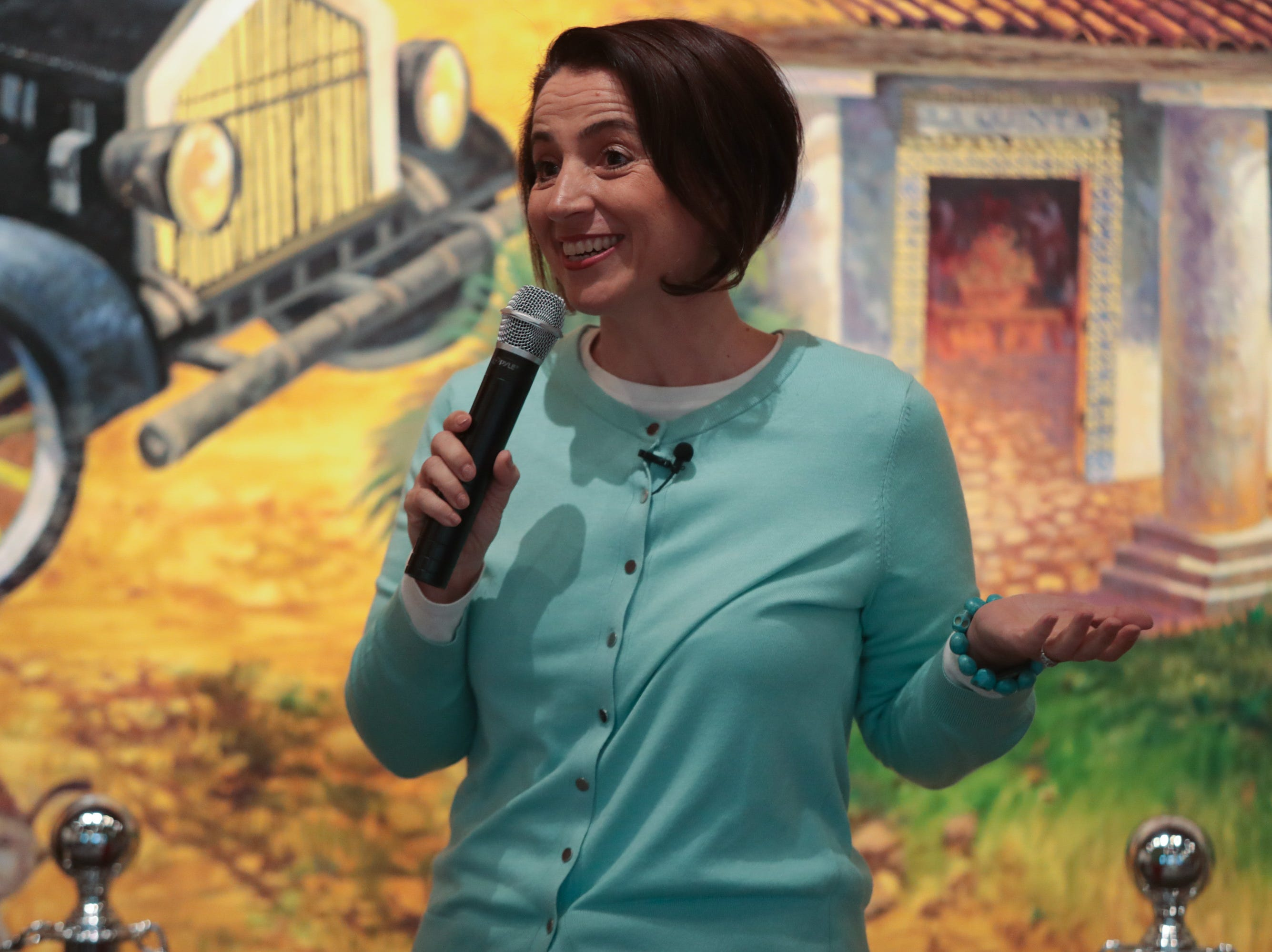 """Felina Danalis shares a story about """"searching"""" at the Coachella Valley Storytellers Project, La Quinta, Calif., March 21, 2019."""