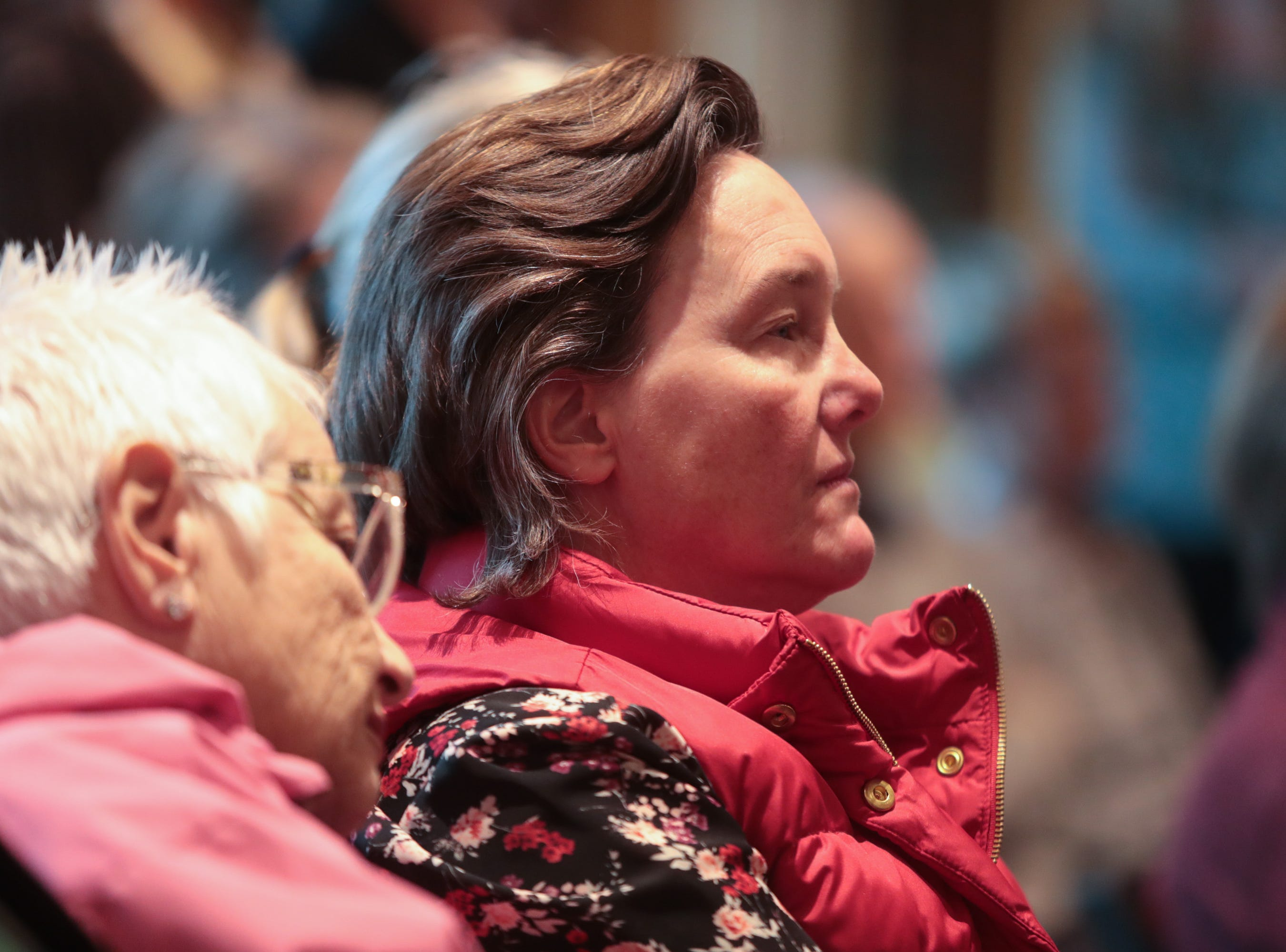 """At the Coachella Valley Storytellers Project community members listen to stories about """"searching"""", La Quinta, Calif., March 21, 2019."""