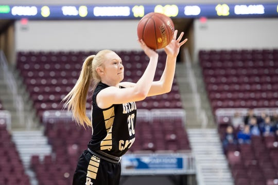 Delone Catholic's Brooke Lawyer shoots and scores a 3-pointer during the PIAA 3A championship game against Dunmore at the Gian Center in Hershey on Thursday, March 21, 2019. Lawyer led the Squirettes with 20 points, including four 3-pointers.