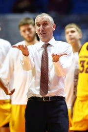 Arizona State  head coach Bobby Hurley talks with an official about a call during the second half of their game against the Buffalo Bulls in the first round of the 2019 NCAA Tournament March 22 at BOK Center.  Mark J. Rebilas-USA TODAY Sports