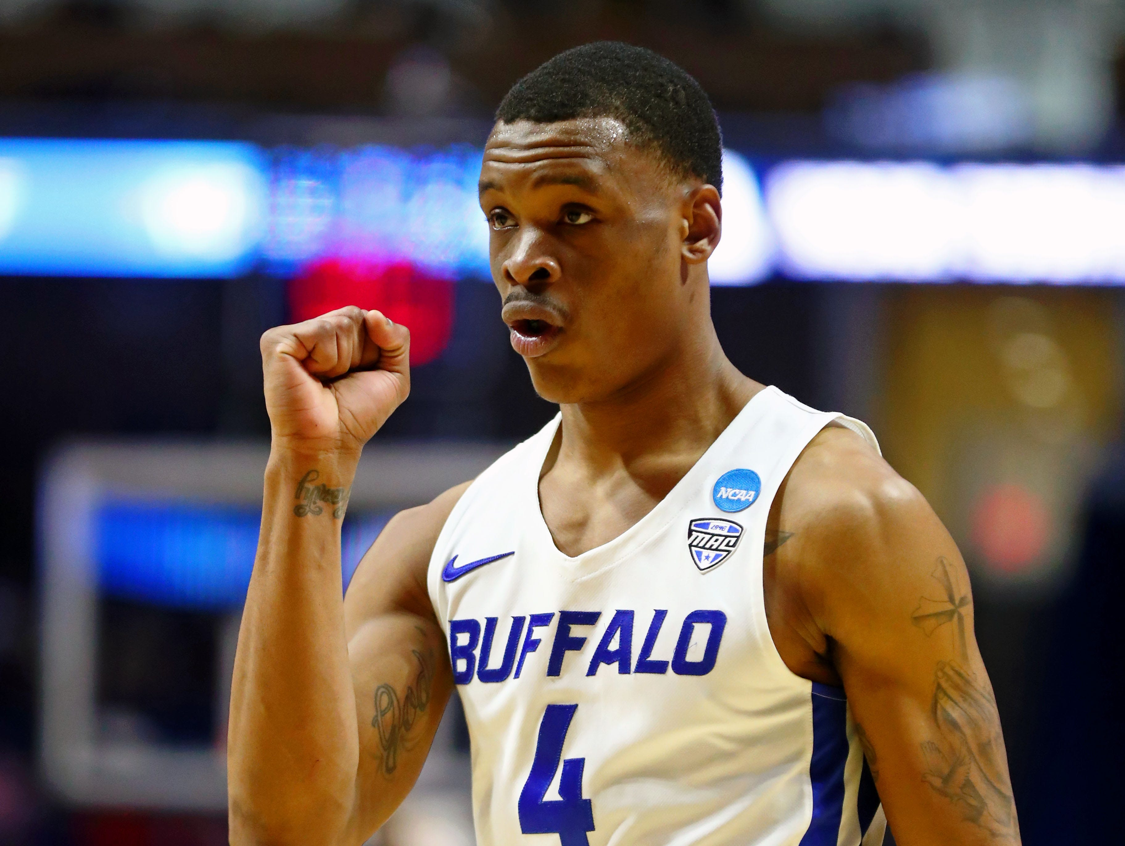 Mar 22, 2019; Tulsa, OK, USA; Buffalo Bulls guard Davonta Jordan (4) gestures after a play during the second half in their game against the Arizona State Sun Devils in the first round of the 2019 NCAA Tournament at BOK Center. The Buffalo Bulls won 91-74. Mandatory Credit: Mark J. Rebilas-USA TODAY Sports